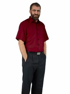 52/53 - 8XL Bordowa koszula męska z krótkim rękawem duże rozmiary