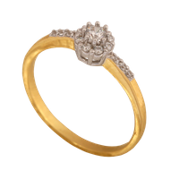 pierścionek rozmiar: 10 żółte i białe złoto 585/14k z cyrkoniami