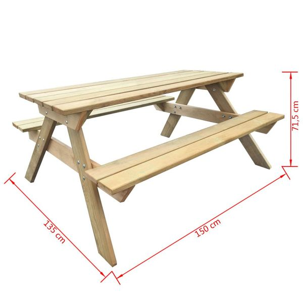 Drewniany Stół Piknikowy Z ławkami 150 X 135 X 715 Cm