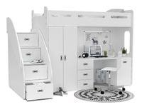 Łóżko piętrowe ZUZIA PLUS materace schodki biurko - białe