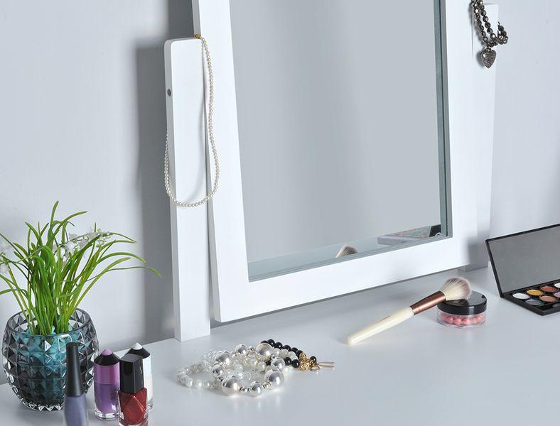 Toaletka Kosmetyczna Lustrem Biała Taboret Biurko 4646 zdjęcie 4