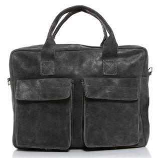 Elegancka torba na ramię ze skóry naturalnej vintage do pracy A4 SZARA