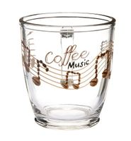 Kubek szklanka z uchem KAWA 300 ml wz.5 nadruk coffee music