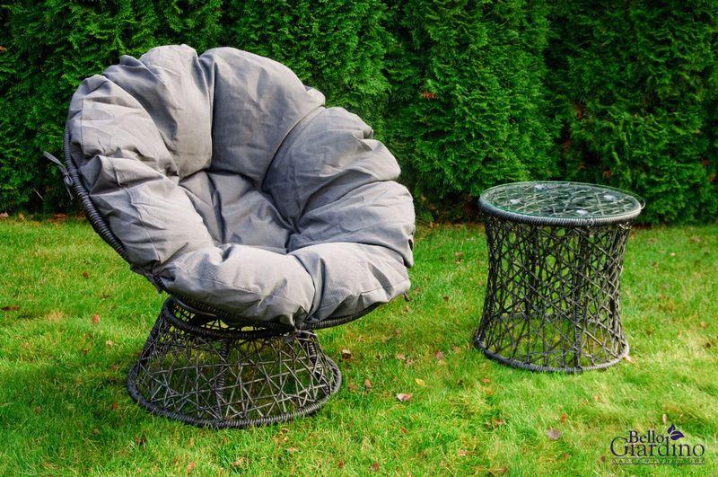 Leżanka obrotowa z technorattanu, fotel stolik rattan zdjęcie 5