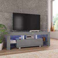 Szafka pod TV, ze światłem LED, błyszcząca, szara, 130x35x45cm
