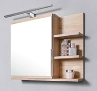Szafka z lustrem, szafka łazienkowa, LED, dąb sonoma, wisząca