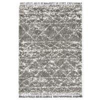 Dywanik shaggy, wzór berberyjski, PP, szaro-beżowy, 80x150 cm