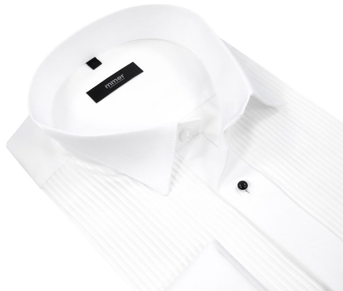 03d3b075c6e30e Biała koszula smokingowa z plisami Mmer 100 M3 Rozmiar koszuli i fason -  176-182