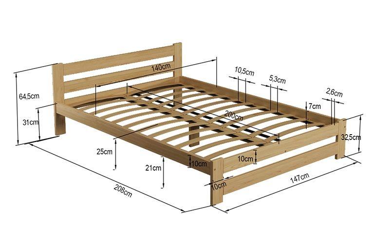 Łóżko 140x200 Sosnowe Białe Stelaż Zagłówek A1 zdjęcie 4
