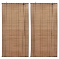 Bambusowe rolety, 2 szt., 80 x 160 cm, brązowe