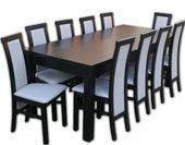 Duży solidny stół 200 cm/300 plus 10 krzeseł wenge
