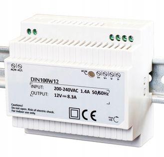 Zasilacz do taśm LED na szynę DIN 8,5A 100W 12V