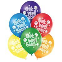 Balony wracaj do zdrowia GET WELL SOON kolorowe x6