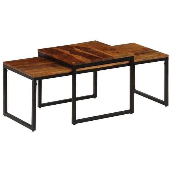 Stół Stolik Stoliki Kawowe Drewniane Stal 2 Sztuki Kwadratowe