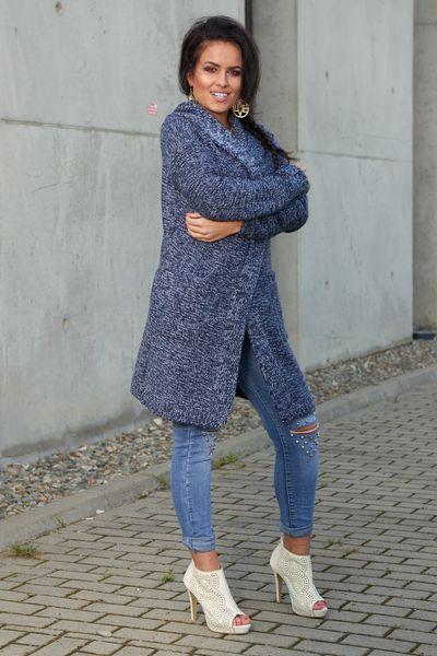 Mięciutki otulający Kardigan sweter melanż 103 zdjęcie 6