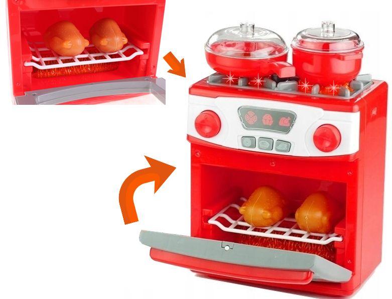 Kuchenka dla dzieci Piekarnik LED Garnki Kurczak Ruszt Kuchnia U29 zdjęcie 8