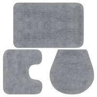 3-częściowy zestaw mat łazienkowych, tkanina, szary GXP-675550