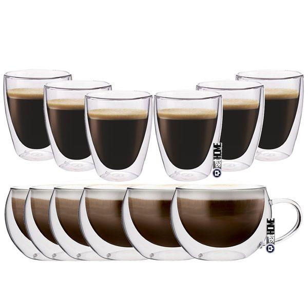 Zestaw Szklanek Termicznych z Podwójną Ścianką Cappucino Coffee 12szt zdjęcie 1