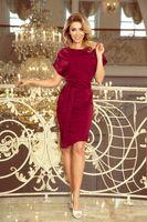 Sukienka z paskiem - Bordowy M