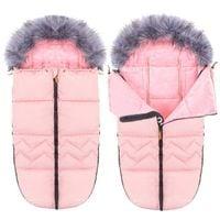 Śpiworek do wózka 4w1, śpiwór z futerkiem do sanek, gondoli 90 cm różowy