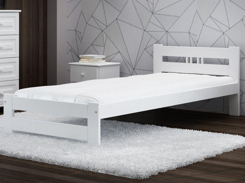 Zestaw łóżko Esm2 90x200 Białe Materac Stelaż