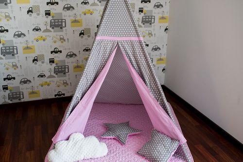 Namiot Tipi Softfun pink night mata + 3 poduszki bawełna MINKY na Arena.pl