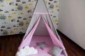 Namiot Tipi Softfun pink night mata + 3 poduszki bawełna MINKY zdjęcie 6