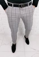 Jasnoszare wizytowe spodnie męskie slim fit w czarna krate Stylovy 1258s - 38