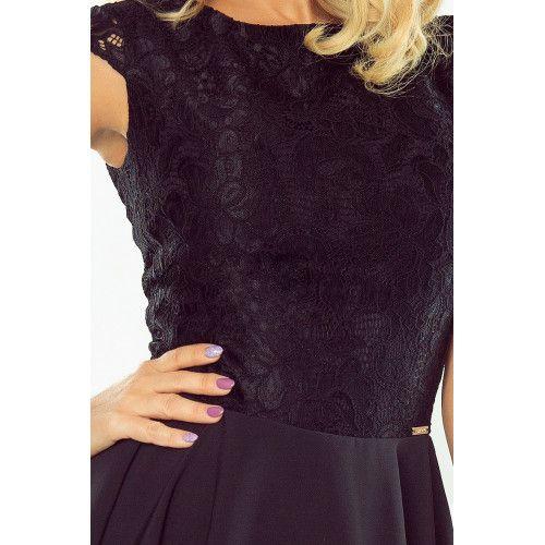 Sukienka rozkloszowana MARTA z koronką - CZARNA XL zdjęcie 6