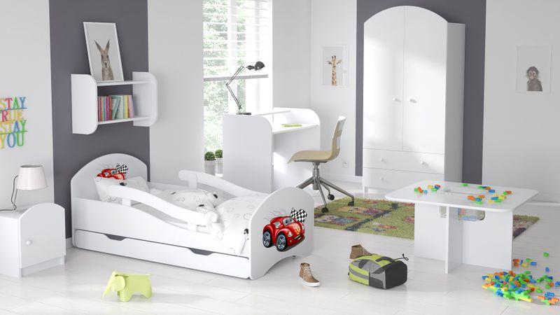 Łóżko dziecięce łóżeczko 140x70 białe szuflada materac dla dziecka zdjęcie 3