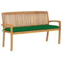 Lumarko Sztaplowana ławka ogrodowa z poduszką, 159 cm, drewno tekowe!