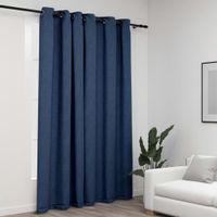 Zasłony stylizowane na lniane, przelotki, niebieskie, 290x245 cm