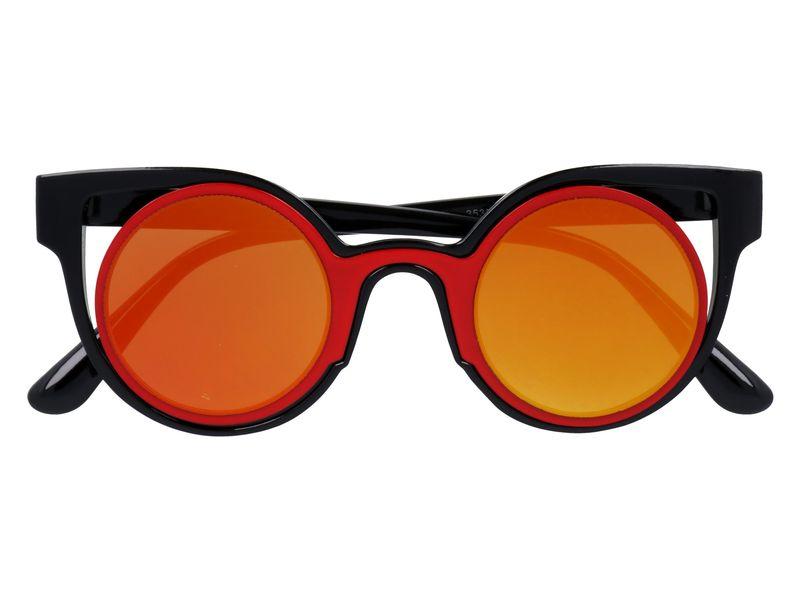 czerwone okulary cat eye lustra zdjęcie 1