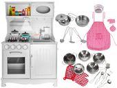 Kuchnia Drewniana Dla Dzieci Kuchenka Metalowe Garnki Światła Akcesoria Z371K zdjęcie 1