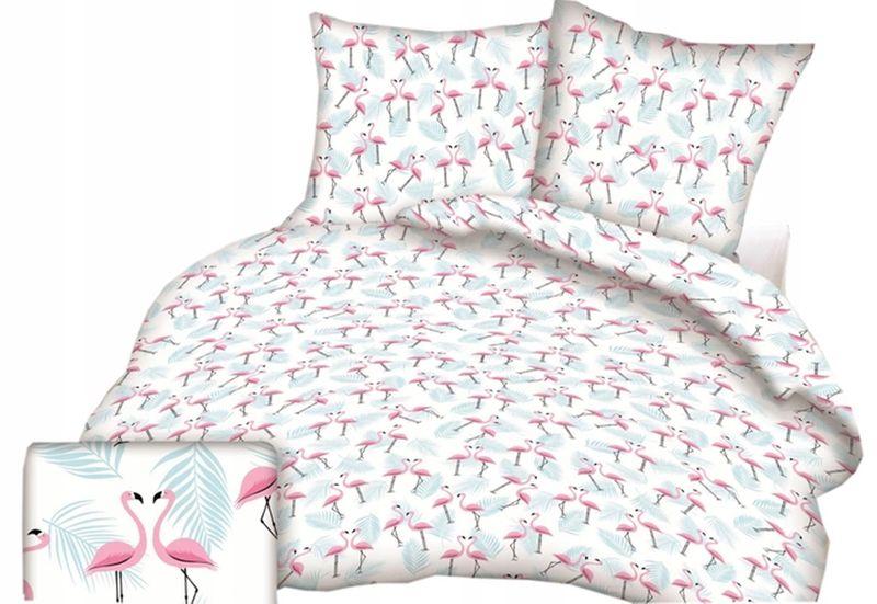 Pościel Młodzieżowa 140x200 Bawełniana We Flamingi Flaming Flamingo