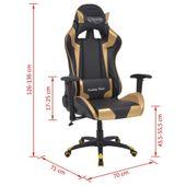 Rozkładane Krzesło Biurowe, Sportowe, Sztuczna Skóra, Złote zdjęcie 6
