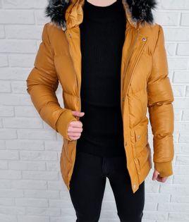 Musztardowa zimowa meska ocieplana kurtka premium - L