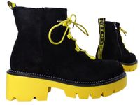 Czarne botki żółta gruba podeszwa trapery buty damskie 39