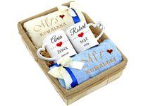 Ręczniki z haftem + kubki Prezent na Ślub Rocznicę