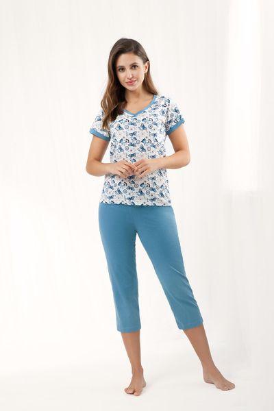 Piżama damska LUNA kod 473 niebieska roz. XXL zdjęcie 1