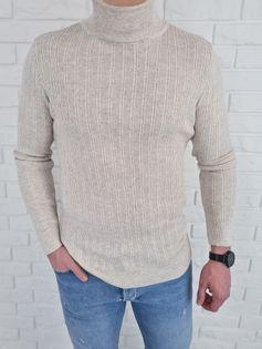 Prazkowany bezowy sweter meski golf 3570 - M