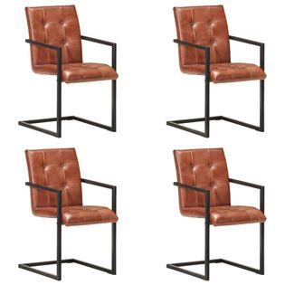 Lumarko Krzesła stołowe, wspornikowe, 4 szt., brązowe, skóra naturalna