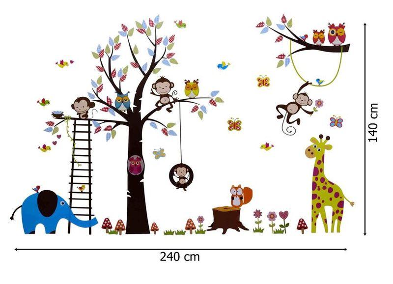 Naklejki Na ścianę ścienne Xxl Drzewo Zwierzęta Zoo Ws 0123 Arenapl