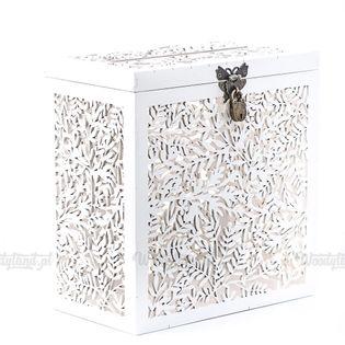 Pudełko NA KOPERTY PIENIĄDZE ŻYCZENIA ŚLUB Ażurowe listki