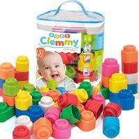 DUŻY ZESTAW miękkich klocków CLEMENTONI dla niemowląt