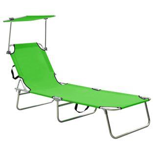 Lumarko Składany leżak z zadaszeniem, zielony, aluminium!