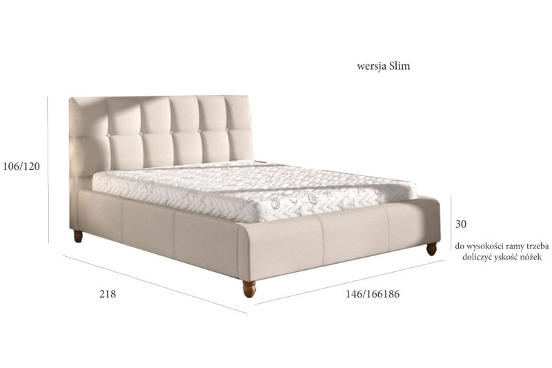 Łóżko tapicerowane STORIE 160x200+ Stelaż zdjęcie 3