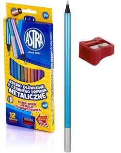 Kredki metaliczne czarne drewno ASTRA 12 kolorów