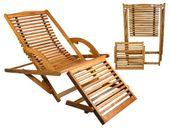 Wygodny Leżak Ogrodowy Drewniany Składany + Podnóżek 5097