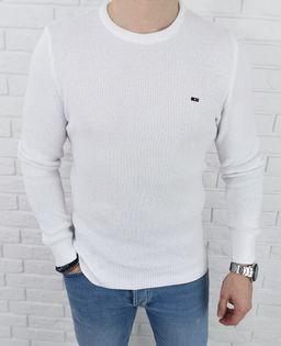 Bialy pleciony sweter męski znaczek 3210 - XXL